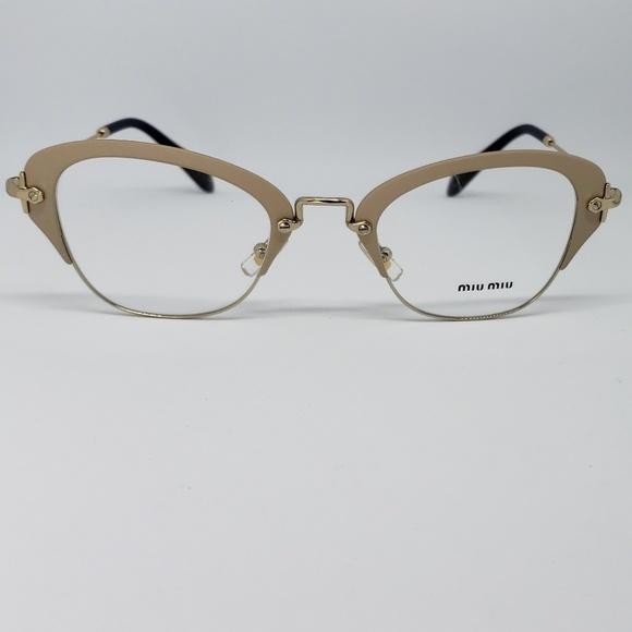 e9d3ad9af95d Miu Miu Rx Eyeglasses Matte Ivory In Gold Frame